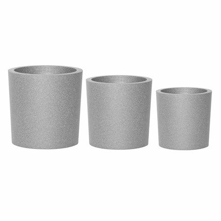 Set of 3 IQBANA ROUND pots - Grey - 480/390/320