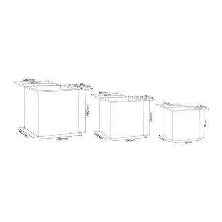 Set of 3 IQBANA SQUARE pots - Grey - 480/390/320